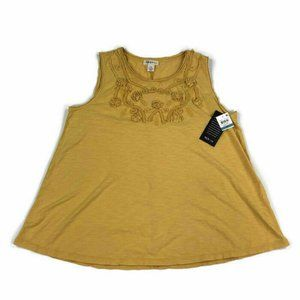 Style & Co Womens Tank Top Scoop Neck Embroidered